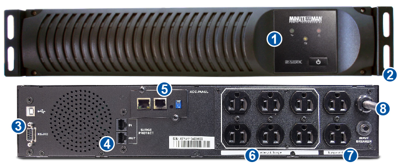 ERS Ruggedized rackmount UPS front and rear panel feature view